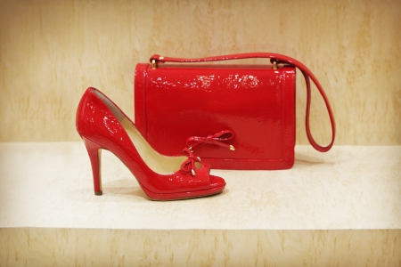 Red shoe and clutch bag