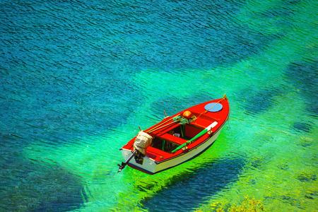 Photo pour Fishing boat in Kefalonia island, Greece - image libre de droit