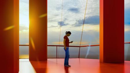 Photo pour Huge luxury cruise ship 3d rendering - image libre de droit