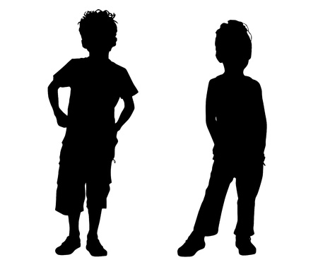 Illustration for Silhouette small friends - Royalty Free Image