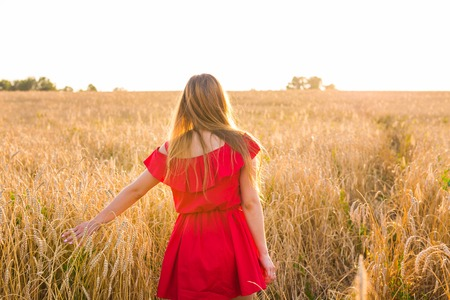 Photo pour woman on wheat field, rear view in sunlight - image libre de droit