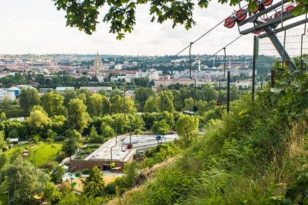 PRAGUE, CZECH REPUBLIC - JUNE 10: Colorful chair lifts, funicular, ZOO, Prague, Czech republic, Lift station and cable car in Prague ZOO. Travel destination. Tourism theme.