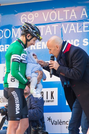 OROPESA DEL MAR, SPAIN - JANUARY 31, 2018: presentation of cyclists before the race in La Vuelta on January 31, 2018 in Oropesa Del Mar, Spain