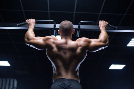 Foto de Handsome young muscular man of model appearance working out training pumping up back muscles in the gym gaining weight on machines - Imagen libre de derechos