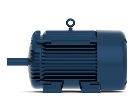 Rendered blue shiny electric motor