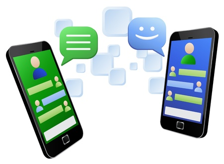 Illustration pour Vector illustration of messaging between two touch screen mobiles - image libre de droit