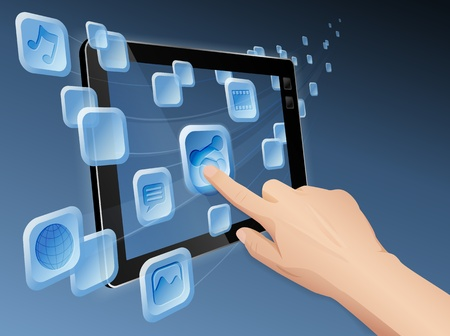 Hand pressing a flowing share icon to share media to web with tablet. file layered, grouped and named