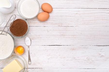 Baking cake ingredients. Background.