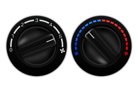 Car air conditioning black switches. Vector illustration isolated on white backgroundCar air conditioning black switches
