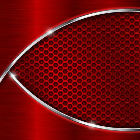 Ilustración de Red perforated background with metal waves. Shiny 3d vector illustration - Imagen libre de derechos