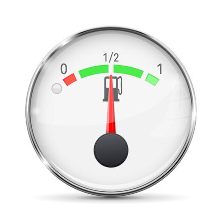 Fuel gauge with metal frame  Half tank  Vector illustration