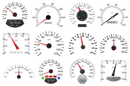 Illustration pour Speedometer and tachometer scales. Large collection design graphic illustration vector - image libre de droit
