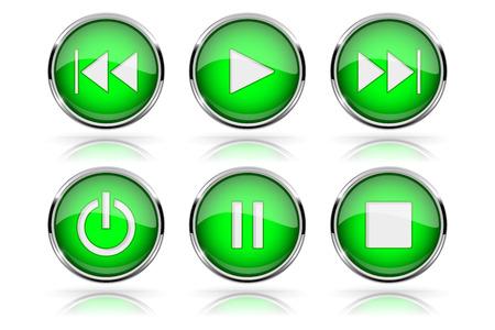 Illustration pour Media buttons. Green round glass buttons with chrome frame - image libre de droit