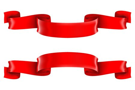 Red shiny 3d ribbon scrolls Vector illustration isolated on white background