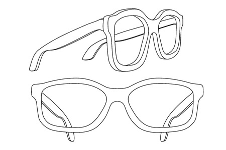 Glasses. White flat outline drawing. Vector illustration isolated on white background