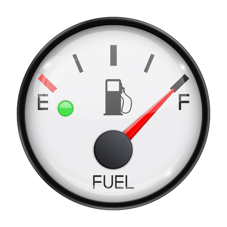 Illustration pour Fuel gauge. Full tank. Round car dashboard 3d device. Vector illustration isolated on white background - image libre de droit