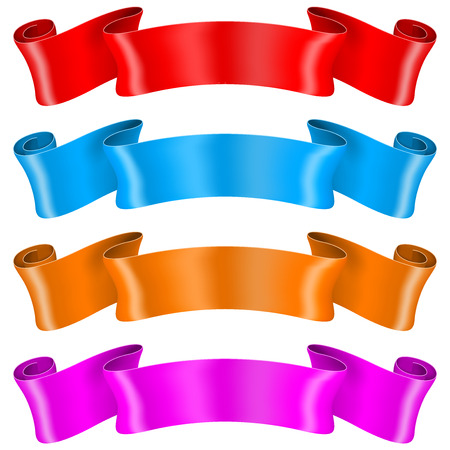 Colored silk ribbons. Vector 3d illustration isolated on white background