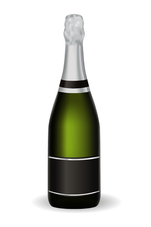 Illustration pour Bottle of champagne. Vector 3d illustration isolated on white background - image libre de droit