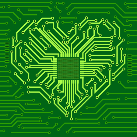 Computer chip with heart symbol. Vector 3d illustration