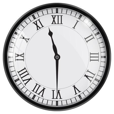 Ilustración de Clock with roman numerals. Half past eleven. Vector illustration - Imagen libre de derechos