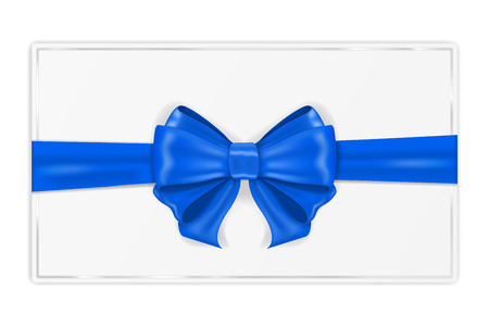 Illustration pour Greeting card wrapped with blue ribbon. With silk bow. Vector 3d illustration - image libre de droit