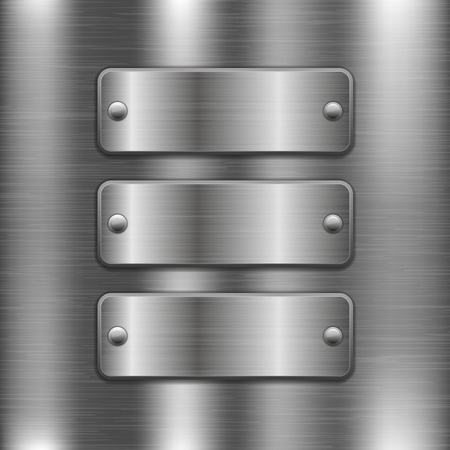 Illustration pour Metal plates with rivets on brushed iron background. Vector 3d illustration - image libre de droit