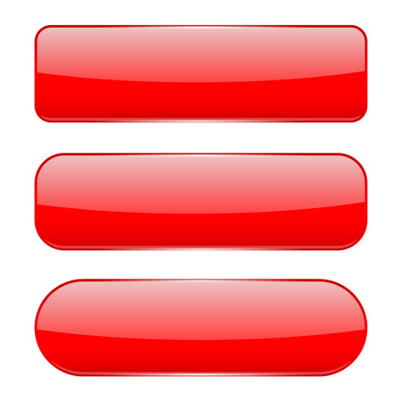 Illustration pour Red 3d glass buttons. Vector illustration isolated on white background - image libre de droit