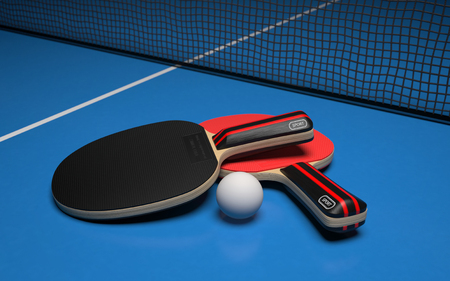 Photo pour Table tennis set. Two rackets with ball on a blue game table. 3d rendering - image libre de droit