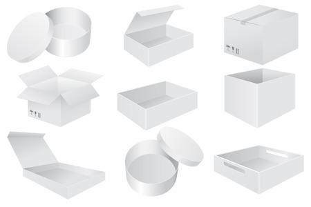 Illustration pour White paper boxes. Set od 3d objects. Vector illustration isolated on white background - image libre de droit