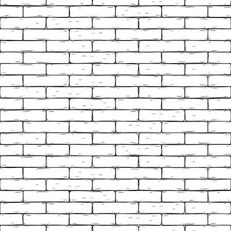 Illustration for Brick wall. Hand drawn seamless background. Vector illustration - Royalty Free Image