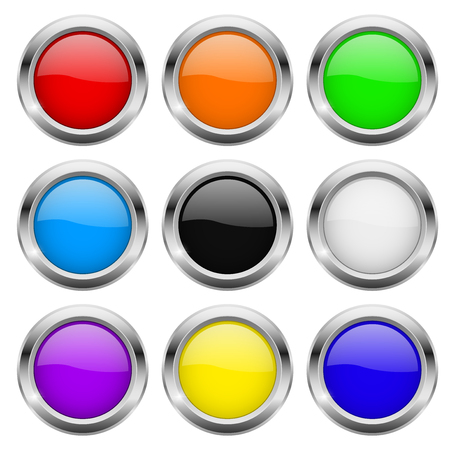 Round buttons. Glass colored icons with chrome frame. Vector 3d illustration