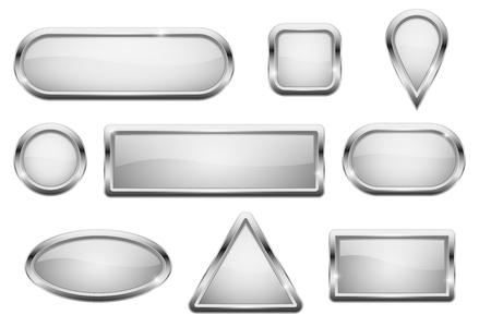 Illustration pour White glass buttons with chrome frame - image libre de droit