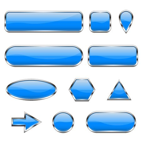 Illustration pour Blue 3d icons. Glass shiny buttons - image libre de droit