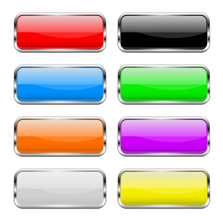 Illustration pour Colored buttons set. Shiny 3d glass rectangle icons. Vector illustration isolated on white background - image libre de droit