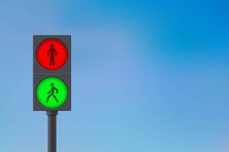 Illustration pour Pedestrian Traffic Light. Sky background. - image libre de droit