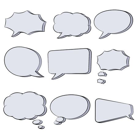 Illustration pour Speech bubbles. Hand drawn sketch. Vector illustration isolated on white background - image libre de droit