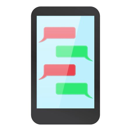 Illustration pour Smartphone mock up with messenger on display. Blank red and green dialog. Vector illustration - image libre de droit