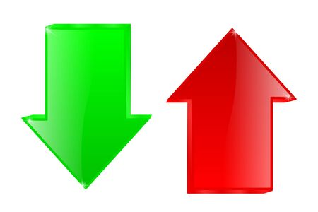 Illustration pour Up and down arrows. Red and green signs - image libre de droit