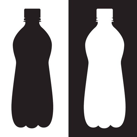 Bottle of water. Silhouette black and white icons. Vector illustration