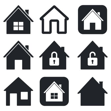 Illustration for House icons set. Black collection of simple web signs. Vector illustration isolated on white background - Royalty Free Image
