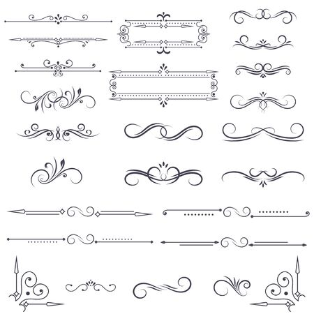 Illustration for Vintage ornamental dividers and frames. Black floral decorations isolated on white background. Vector illustration - Royalty Free Image