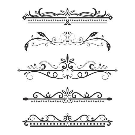 Illustration pour Vintage ornamental dividers. Typographic decorations isolated on white background. Vector illustration - image libre de droit
