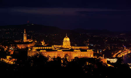 Royal Residence in Budapest, night view