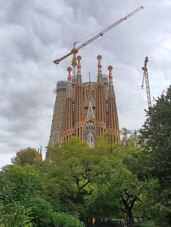 Foto de Sagrada Familia Cathedral by Gaudi, most  important landmark in Barcelona - Imagen libre de derechos