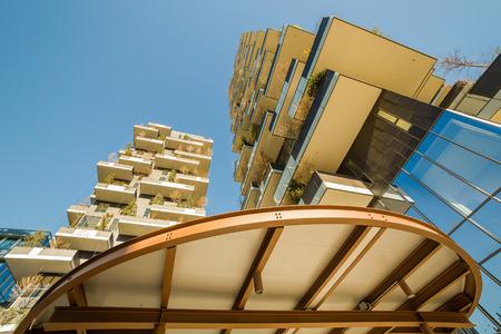 MILAN, ITALY - January 25, 2015: The new Bosco Verticale building in Porta Nuova area, Milan, Italy.
