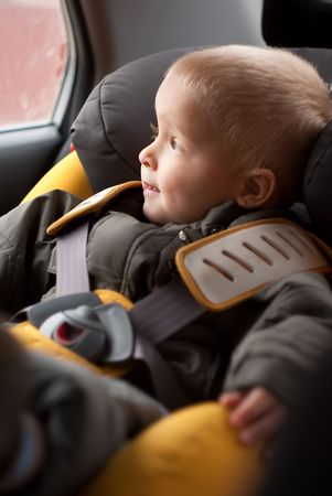 Adorable little boy sitting in the safety carseat