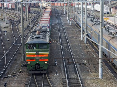 Belarus, Minsk - 04/03/2017: The locomotive freight train on a railway track