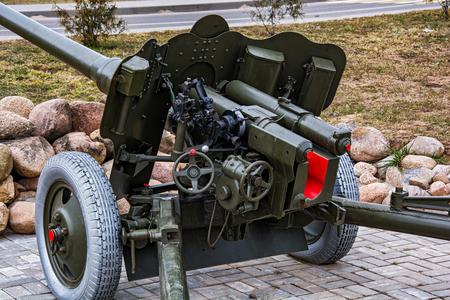 Belarus, Minsk region - 29.03.2017: The official part of the artillery anti-tank 85 mm gun D-44