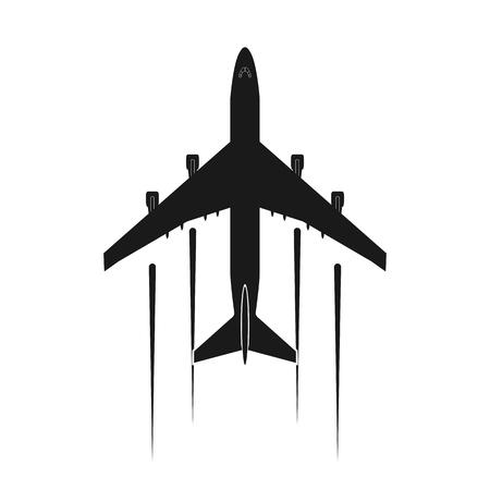 Ilustración de Icon or airplane logo, simple flat design - Imagen libre de derechos