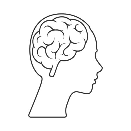 Illustration for Vector icon of a female head with a brain Empty outline isolated on a white background. Simple design  - Royalty Free Image